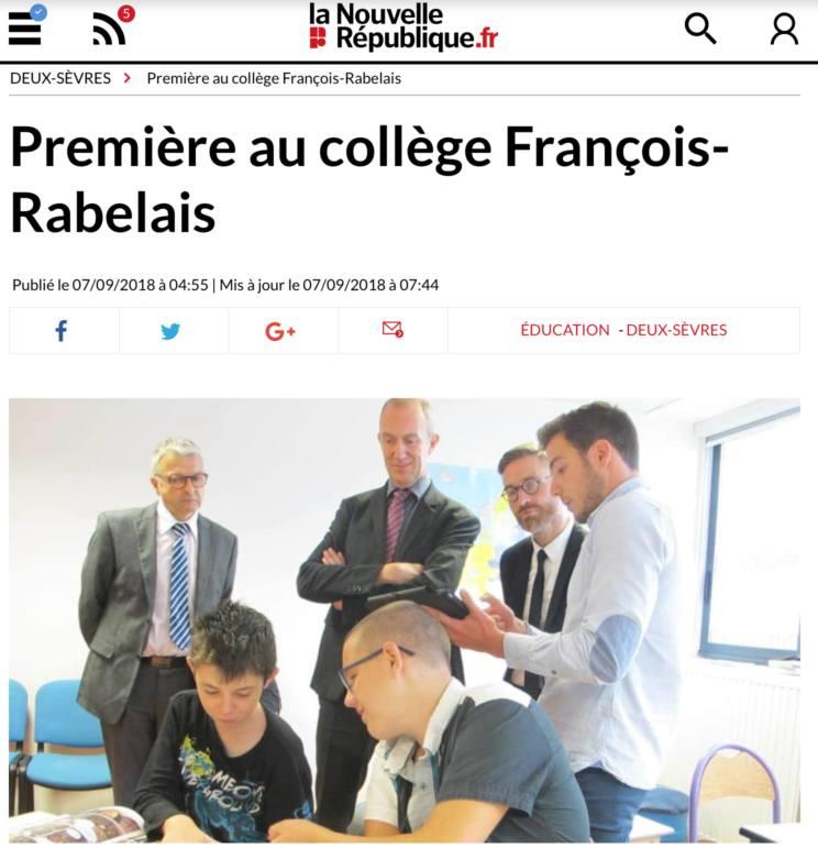 Septembre 2018 : ouverture de l'Unité d'Enseignement Externalisée (UEE) de l'ITEP de la roussille au collège F. Rabelais de Niort
