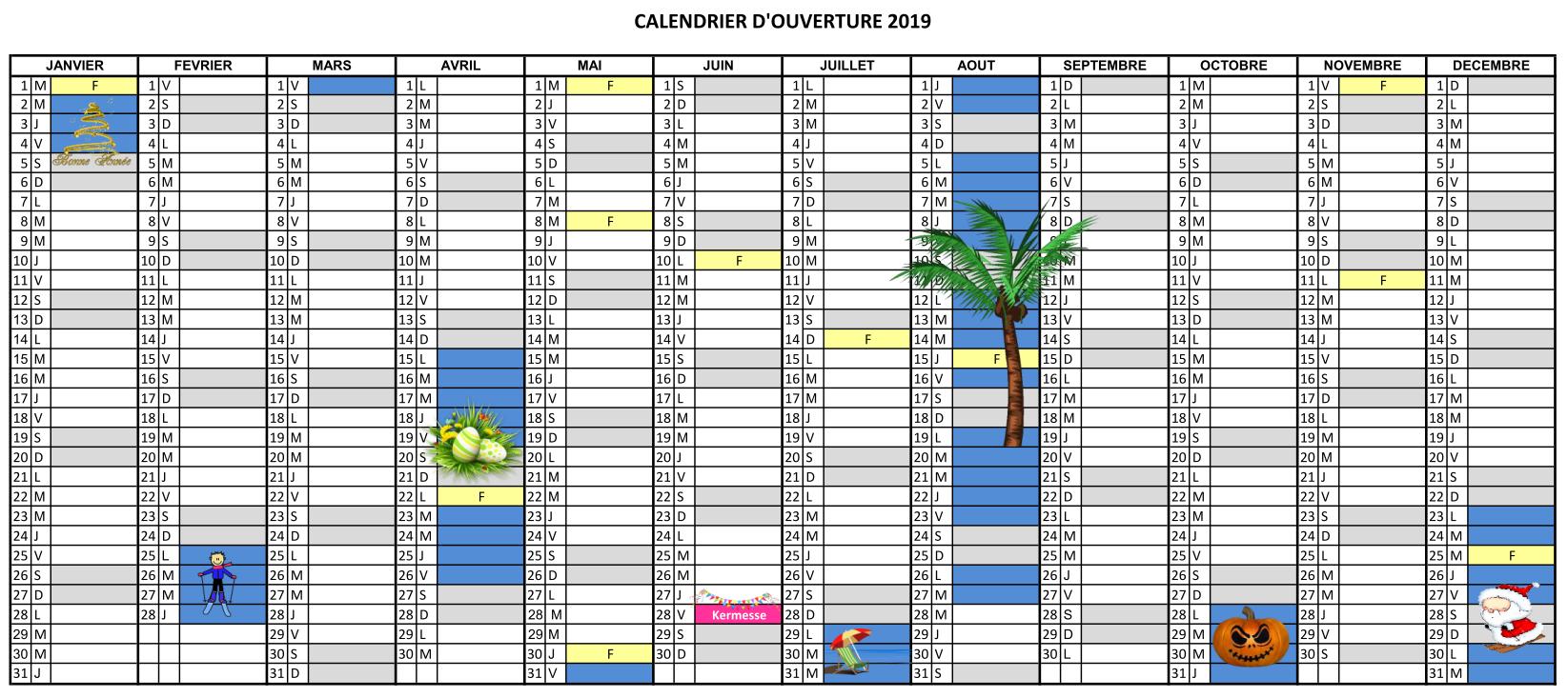 Le calendrier d'ouverture 2020 de l'ITEP de la Roussille